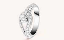 クチュール ソリティア、プラチナ、ラウンドカット ダイヤモンド